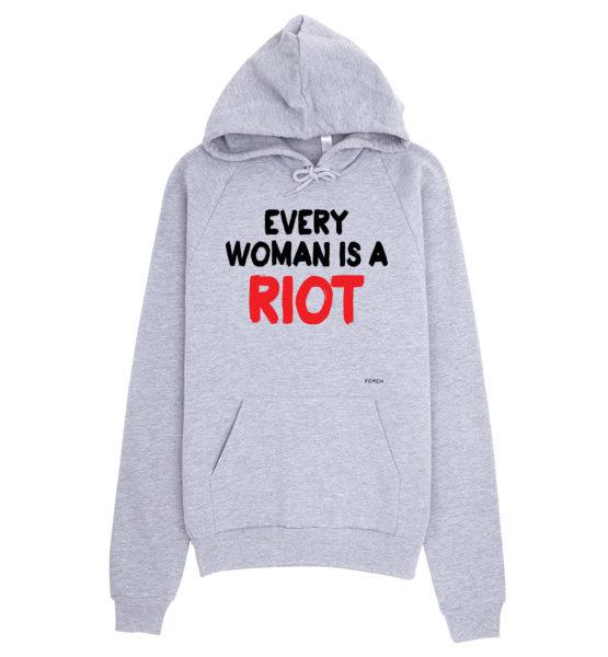 "Femen Unisex Hoodie ""Every Woman Is A Riot III"""