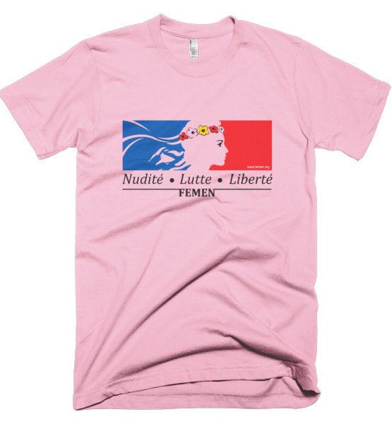 """Femen Man's T-Shirt """"Nudite Lutte Liberte"""""""
