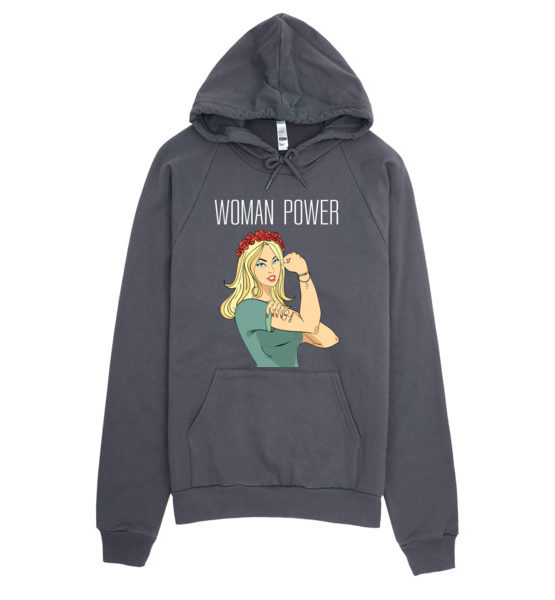 "Femen Unisex Hoodie ""Woman Power Dark"""