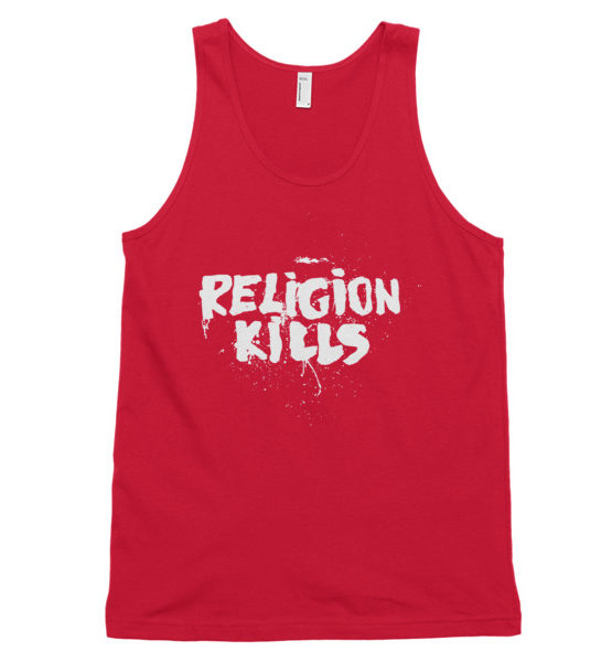 "Femen Unisex Tank Top ""Religion Kills Dark"""