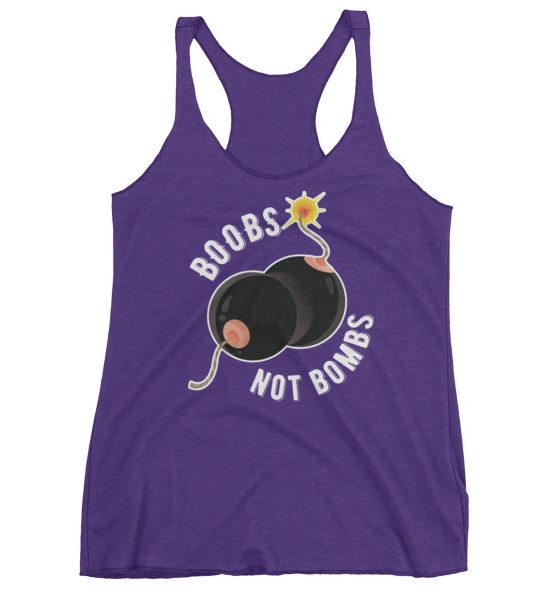"Femen Woman's Tank Top ""Boobs Not Bombs Dark"""