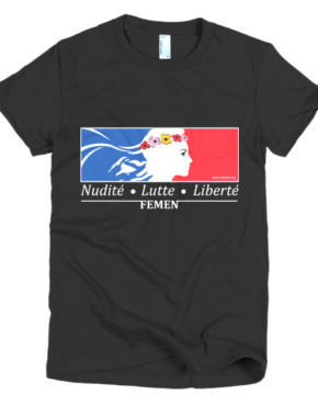 "Femen Woman's T-Shirt ""Nudite Lutte Liberte Dark"""