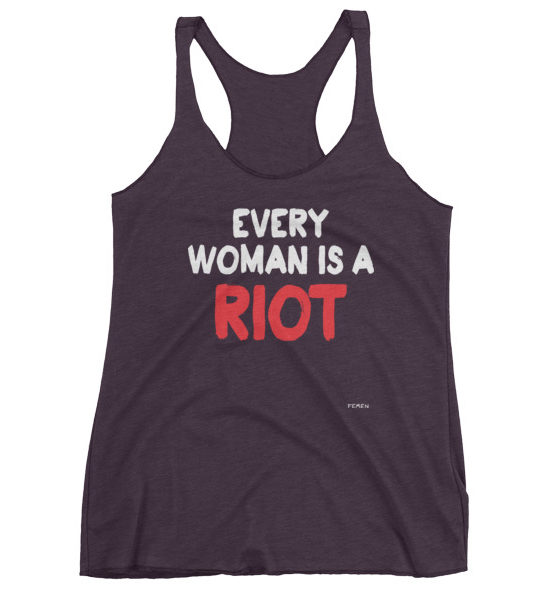 "Femen Woman's Tank Top ""Every Woman Is A Riot III Dark"""