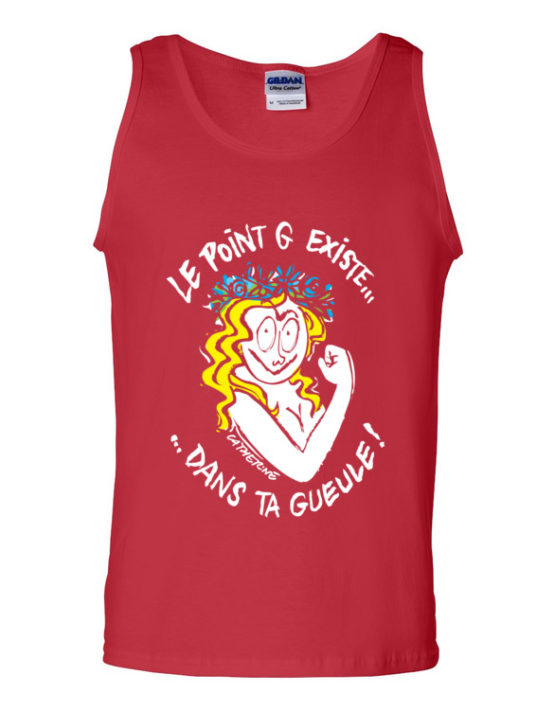 "Femen Man's Tank Top ""Le Point G Existe Dans Ta Gueule Dark"""