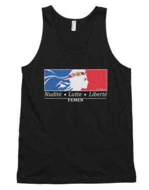 "Femen Unisex Tank Top ""Nudite Lutte Liberte Dark"""