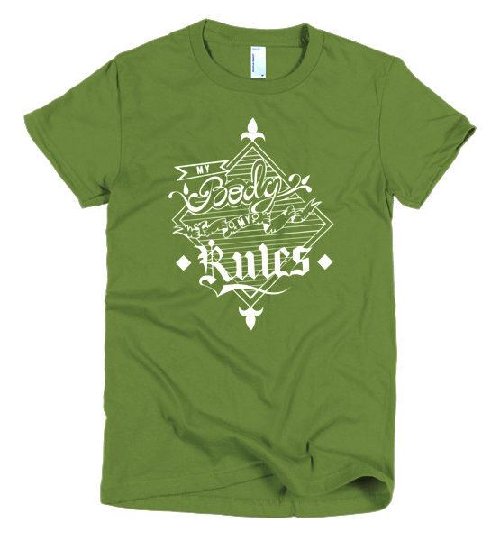 "Femen Woman's T-Shirt ""My Body My Rules Dark"""