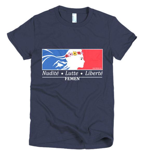 "Femen Woman's T-Shirt ""Nudite Lutte Liberte Dark"""