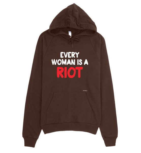 "Femen Unisex Hoodie ""Every Woman Is A Riot III Dark"""