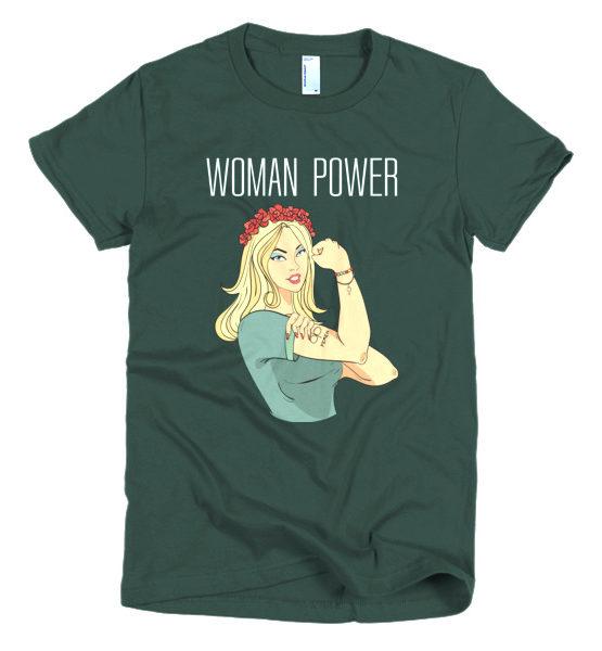 "Femen Woman's T-Shirt ""Woman Power Dark"""