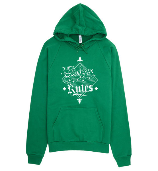 "Femen Unisex Hoodie ""My Body My Rules Dark"""