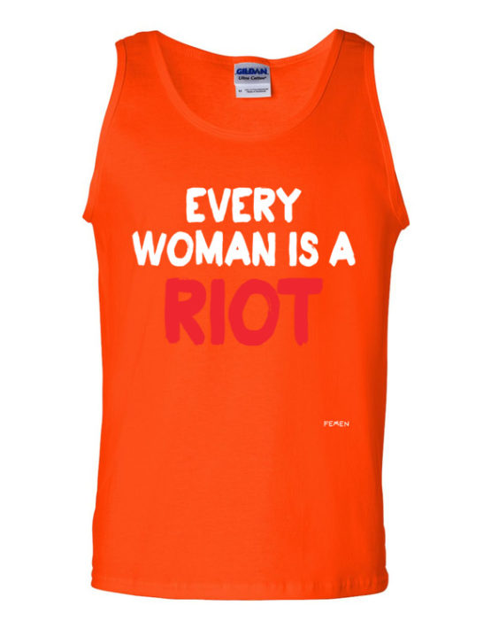 "Femen Man's Tank Top ""Every Woman Is A Riot III Dark"""