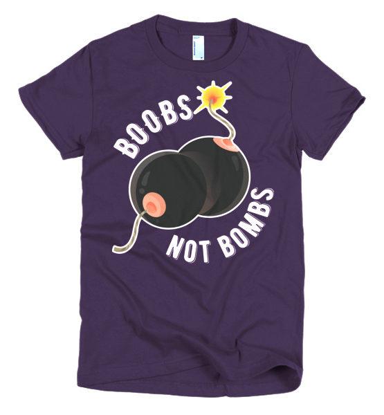 """Femen Woman's T-Shirt """"Boobs Not Bombs Dark"""""""